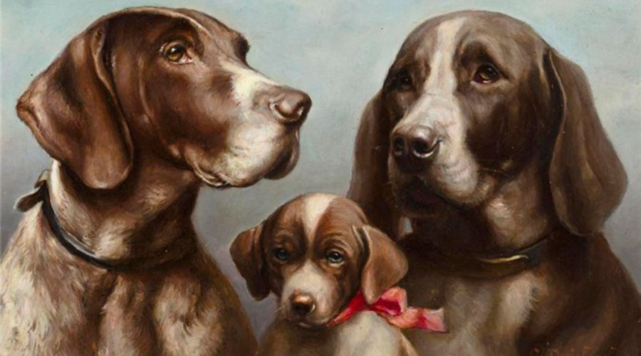 Собаки мама папа и щенок