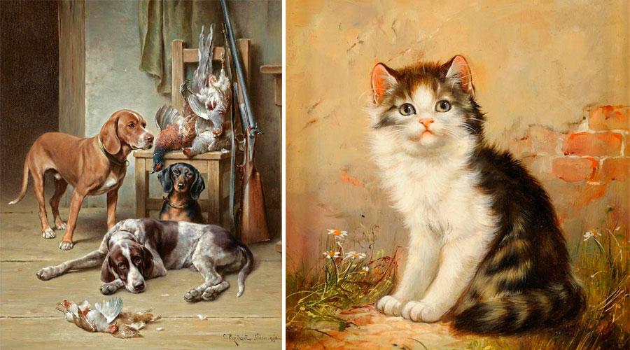 Коты и собаки в картинах