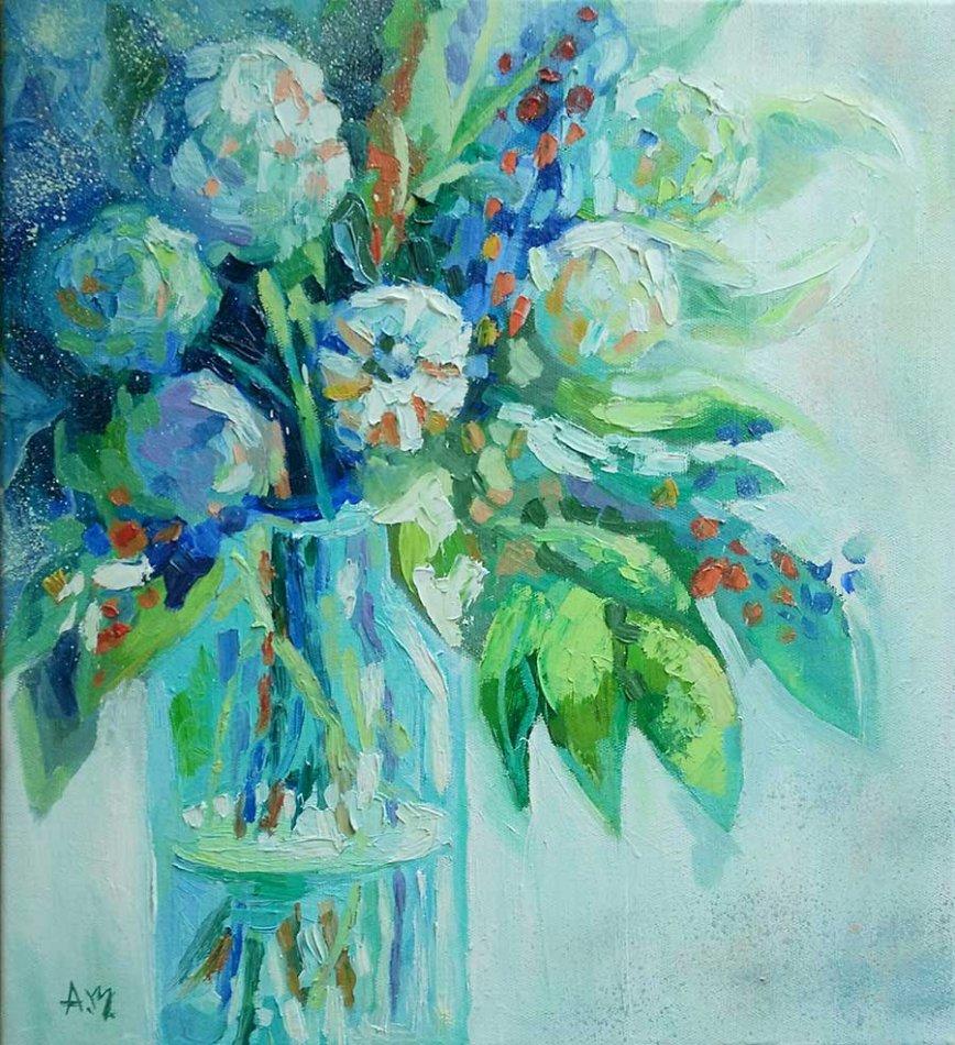 картина цветы в банке