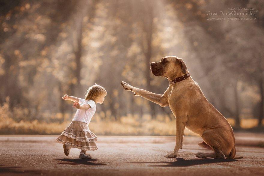 девочка с большой собакой