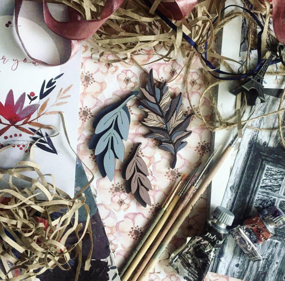 краски,листья,бумага