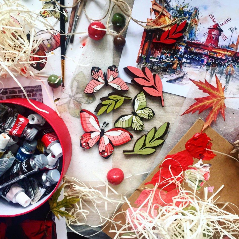 Краски,бабочки,листья,бумага