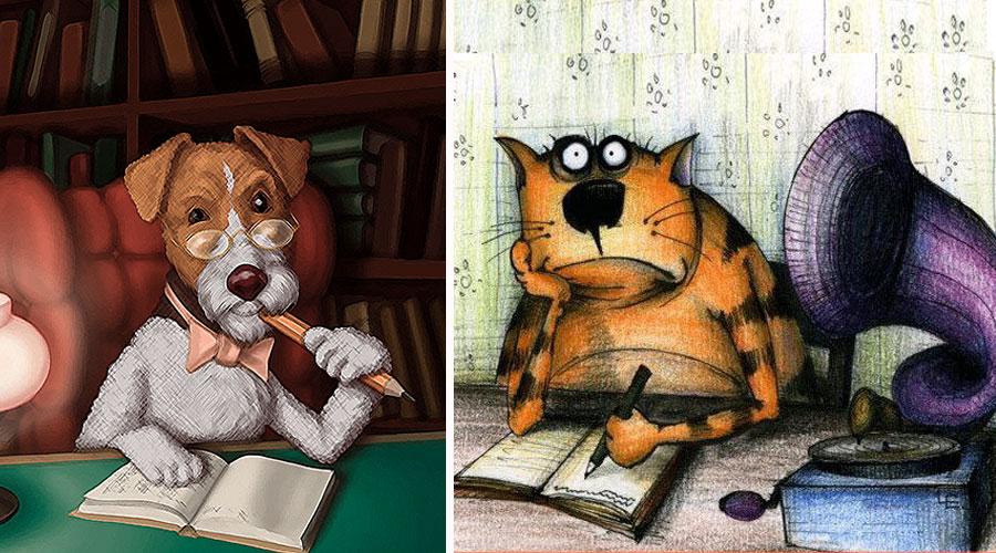 кот и собака пишут дневник