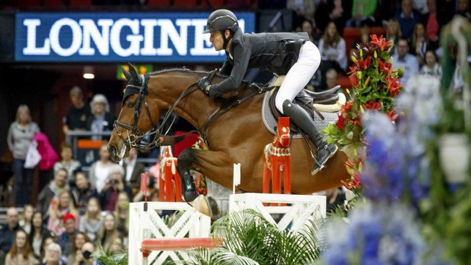 Лошадь преодолевает барьер