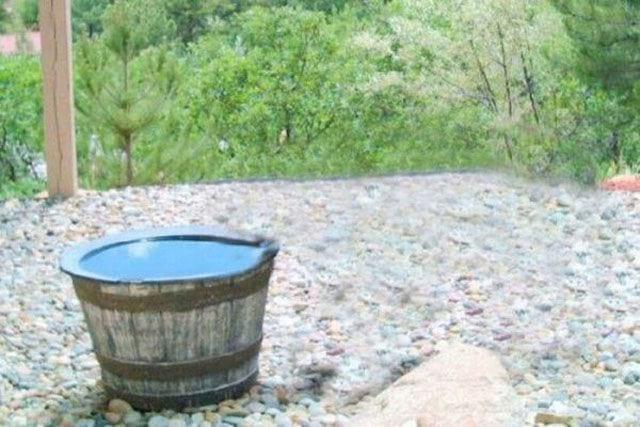вода,бочка,камни,лес,природа