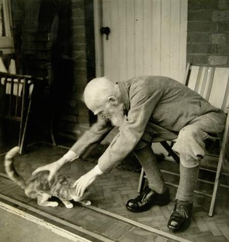 Джордж Бернард Шоу и кошка фото