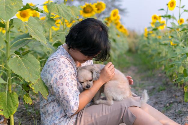 Женщина обнимает собаку фото