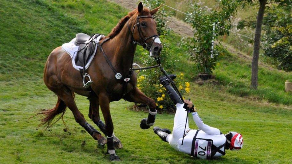 Лошадь сбросила всадника фото