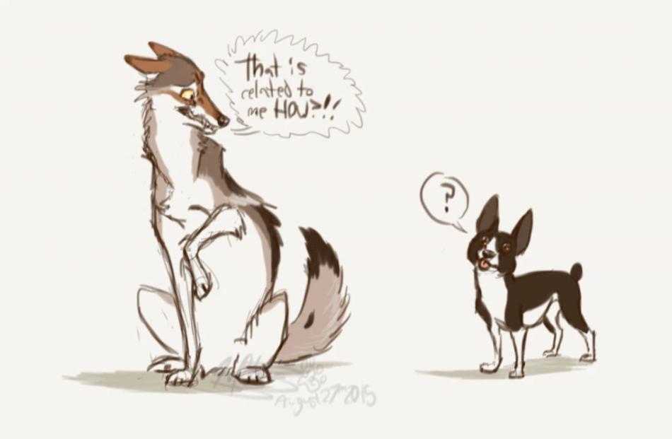 Волк и собака на карикатуре