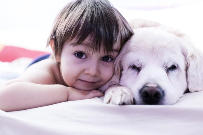 Ребенок и щенок фото