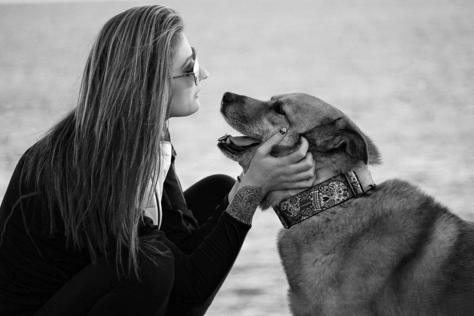 Девушка и собака черно-белое фото