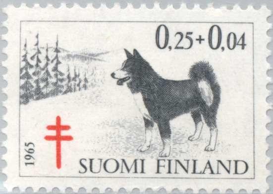 Лайка на почтовой марке Финляндии фото