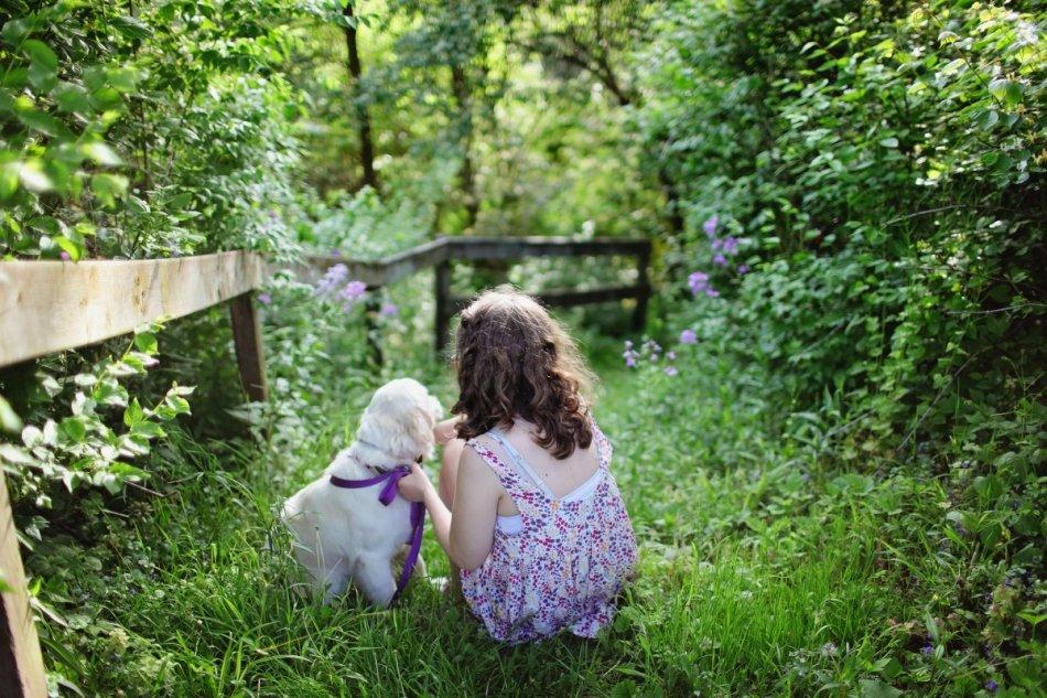 Девочка и щенок золотистого ретривера в саду фото