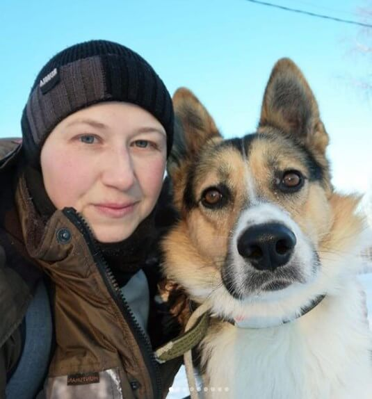 собака, девушка, зима