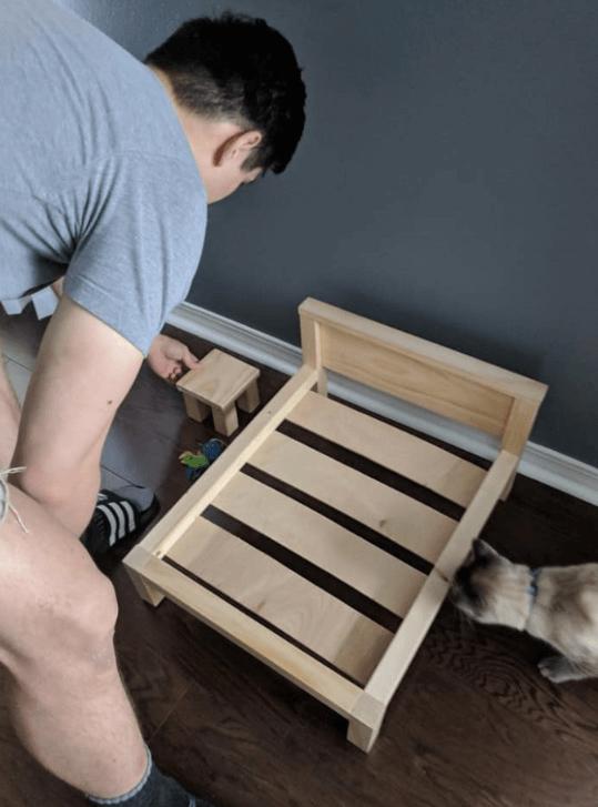 кровать, тумба, каркас, стройка, кот, мужчина