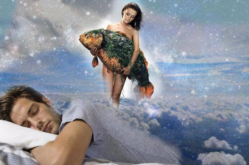 мужчина спит, женщина и рыба, сон