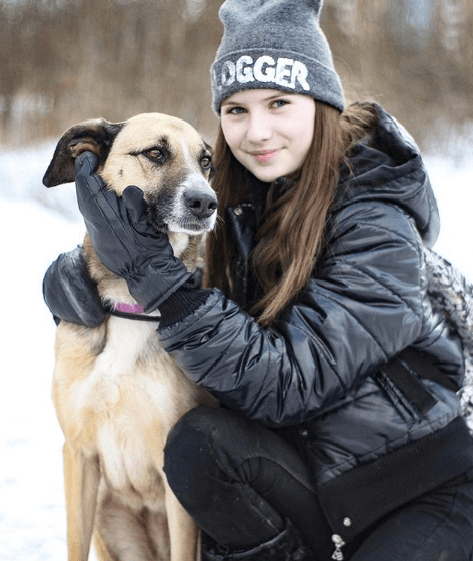 собака, девочка, улица, прогулка