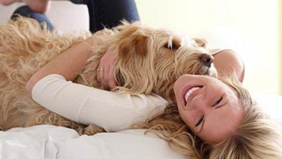 Девушка в обнимку с собакой фото