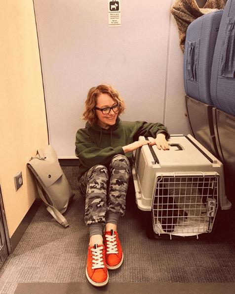 поезд, переноска, собака, девушка