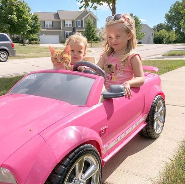 розовая машина, девочки, кошка, улица