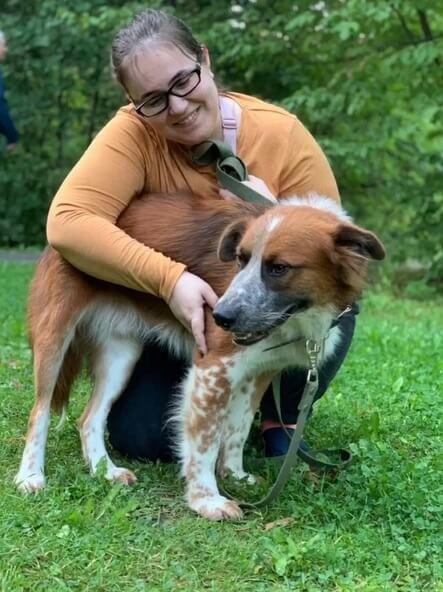 собака и хозяйка, домашнее животное, девушка