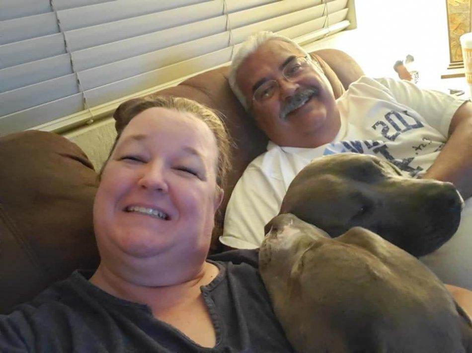 женщина и мужчина, любовь к собаке, питбули