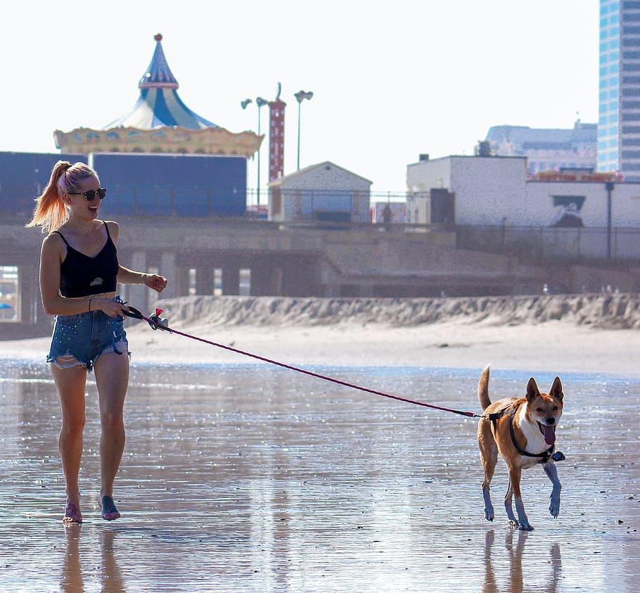 Женщина гуляет с собакой фото