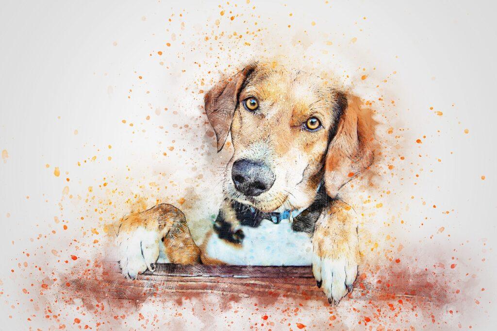 Рыжая собака нарисованная грустная фото