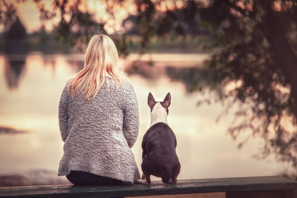 Человек и собака на берегу озера фото